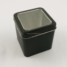 Square metal tin can with clear window lid for tea or coffee package