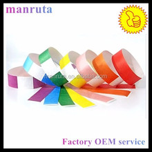 RFID disposable dupont paper wristbands Ntag213 / Ntag216 nfc 13.56 mhz bracelet