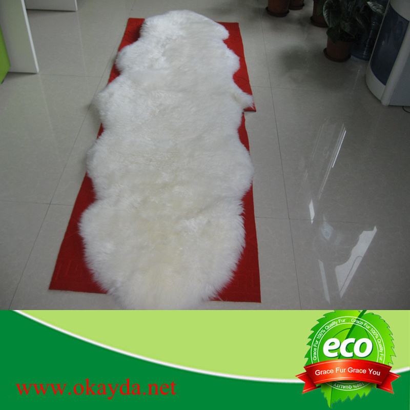 double piece pure white sheepskin rugs