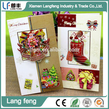 2015 latest design paper christmas card with santa claus pattern, cheap fashion deep feeling christmas card