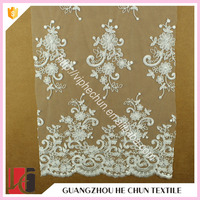 HC-5270-1 Hechun Cutwork Delicate Floral Embrodery Bridal Lace Fabric White