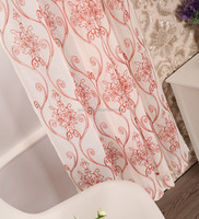American new design curtain snow voile floral embroidery sheer fancy voile fabric for curtain drapery