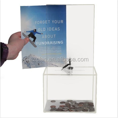 Factory Medium Acrylic Charity Donation Box Suggestion Box With Lock
