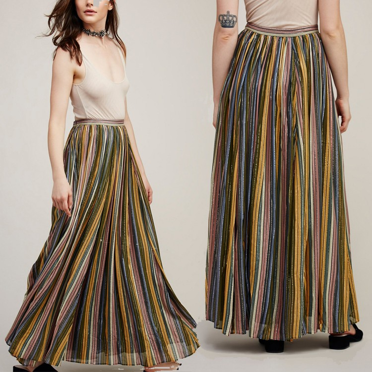 Pictures of Latest Flowy Long Multi-color Stripes Maxi Skirts and Tops Designs HSs7105