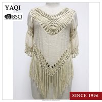Loose V-neck Tops Women Lace Crochet Short Sleeve Shirt Casual Blouse