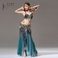 Tribal Belly Dance Costume Two pieces Bra Top Skirt