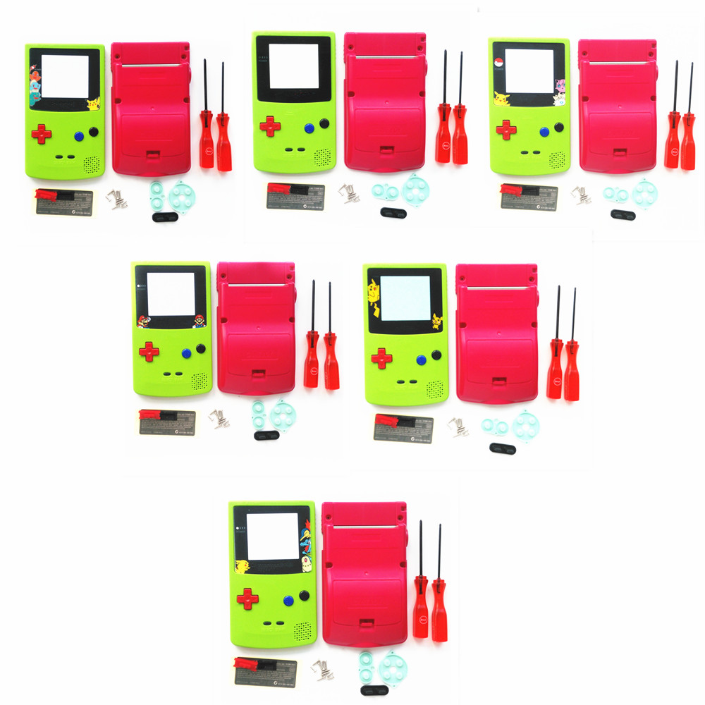 For GBC Pokemon Limitd Version Apple Green & Red Housing Shell For GBC Housing Case Pack