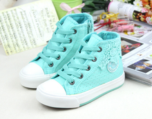 FC2289 hot sale korean style canvas children shoes lace breathable kids shoes