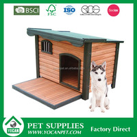 natural Natural wooden double dog kennel