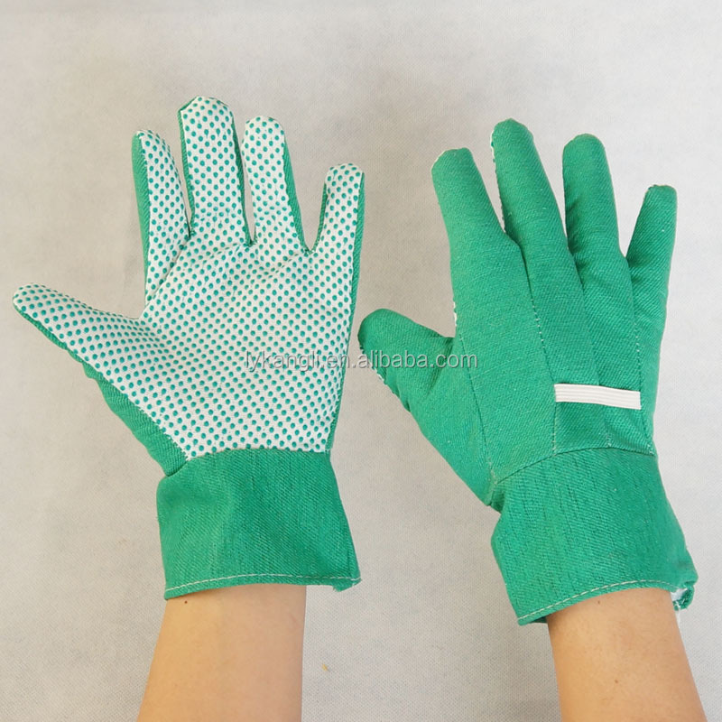 Beautiful lady garden work gloves TC knitted garden lady gloves with PVC dots