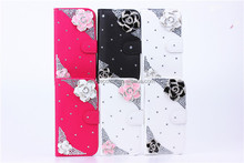 handmade luxury flower diamond leather case for apple iPhone 5 with wallet design