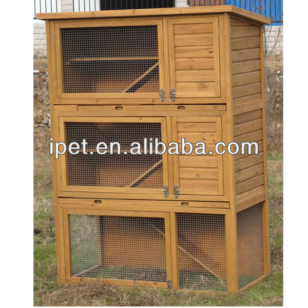 Wood 3 story rabbit hutches with Plastic Tray RH017