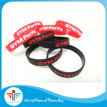 Custom GYM Forfit black wristband with red color ink filled /Custom logo sports team silicone bracelet