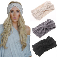 Fashion winter lady nurse head wraps stretch wool cable knitted headband