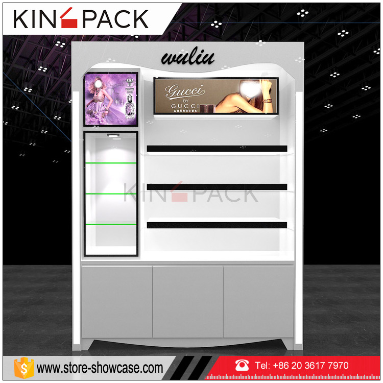 China manufacturer cosmetic display stand glass showcase wall cabinet design for makeup <strong>retail</strong> store