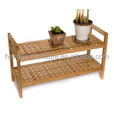 mesh solid walnut oiled 2-tier wood shoe shelf