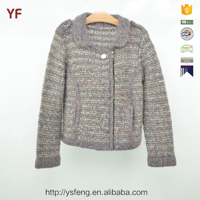 Hand Knitted Kids Cardigan Wool Sweater Knitting Design For Girl
