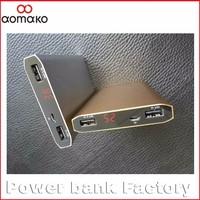 2016 new slim dual LED light dual port power bank with LCD screen mobile phone charger