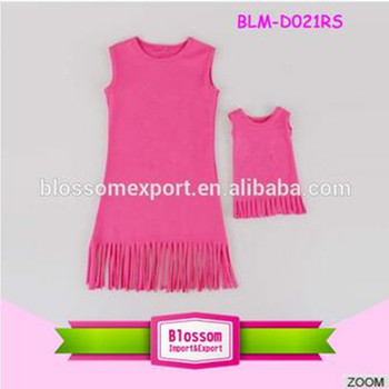 2016 Baby Girls Cotton tassels fringe Dress wholesale children's boutique clothing frocks designs match 18ich doll clothes