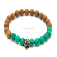 2016 New Design Different kinds Of The Stones Skull Bracelet for men