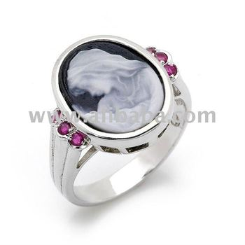 Jade-infused Mother & Child Cameo Ring