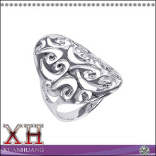 China Wholesale Lots Sterling Silver Big Oval Front Swirl Design Thailand Ring