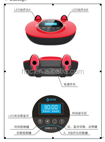 Blue and red Led no heat and UV Facial beauty home use acne light treatment equipments