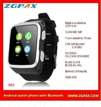 Bluetooth and Camera Android watch phone ,3G watch ,Smart watch 2016, S83 ZGPAX