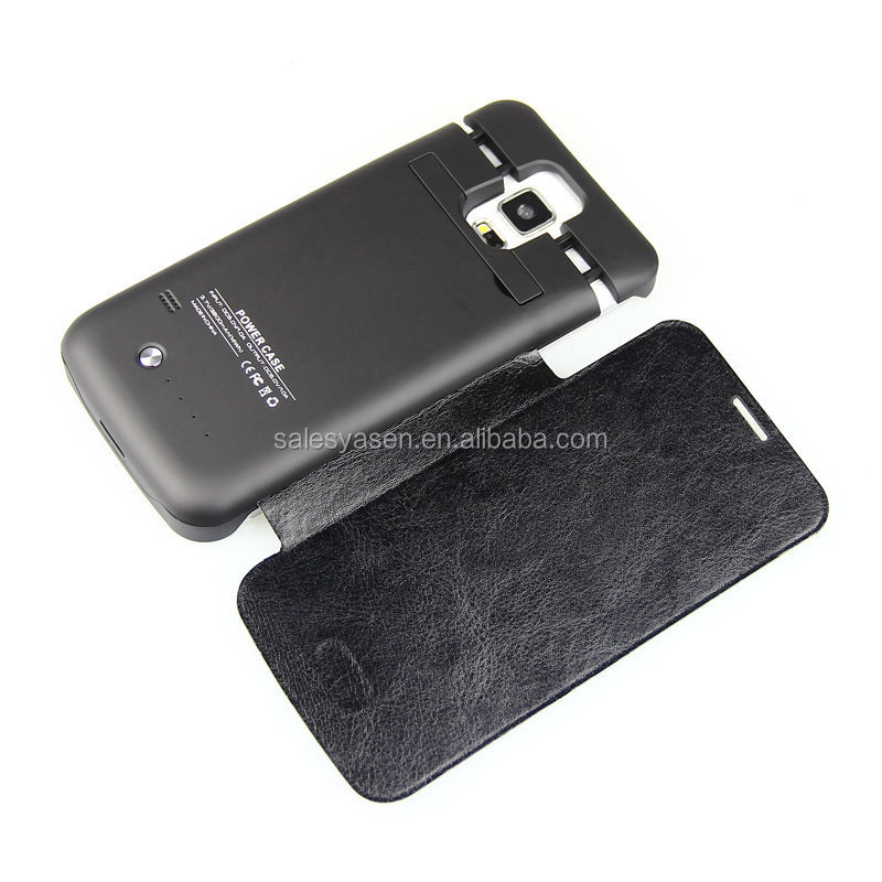 3800mAh External Battery Power Case for Samsung Galaxy S5 with Stand Flip Cover