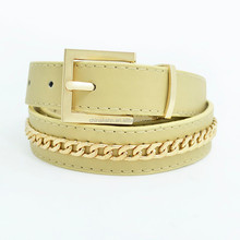 Top fashion chain belt for women, reversible buckle pu belt manufacturer