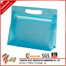 Holiday Travel Clear Transparent PVC Make up Cosmetic Toiletry Zipper Plain Bags