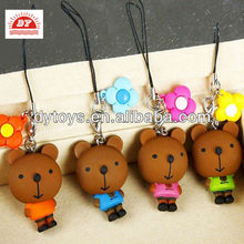 3d plastic cartoon animal bear figure toys gift fashion accessories mobile phone chain
