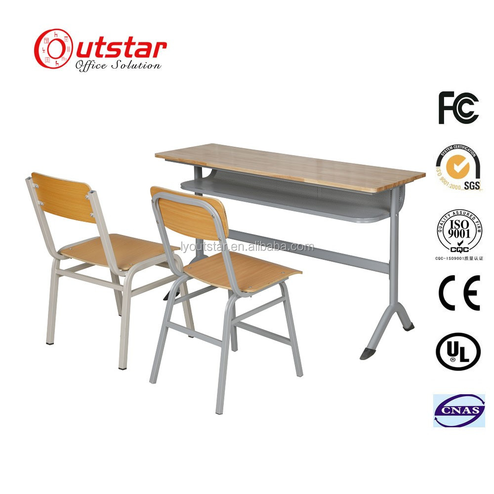 Modern Steel Frame with MDF Top Board Double School Student Desk and Chair