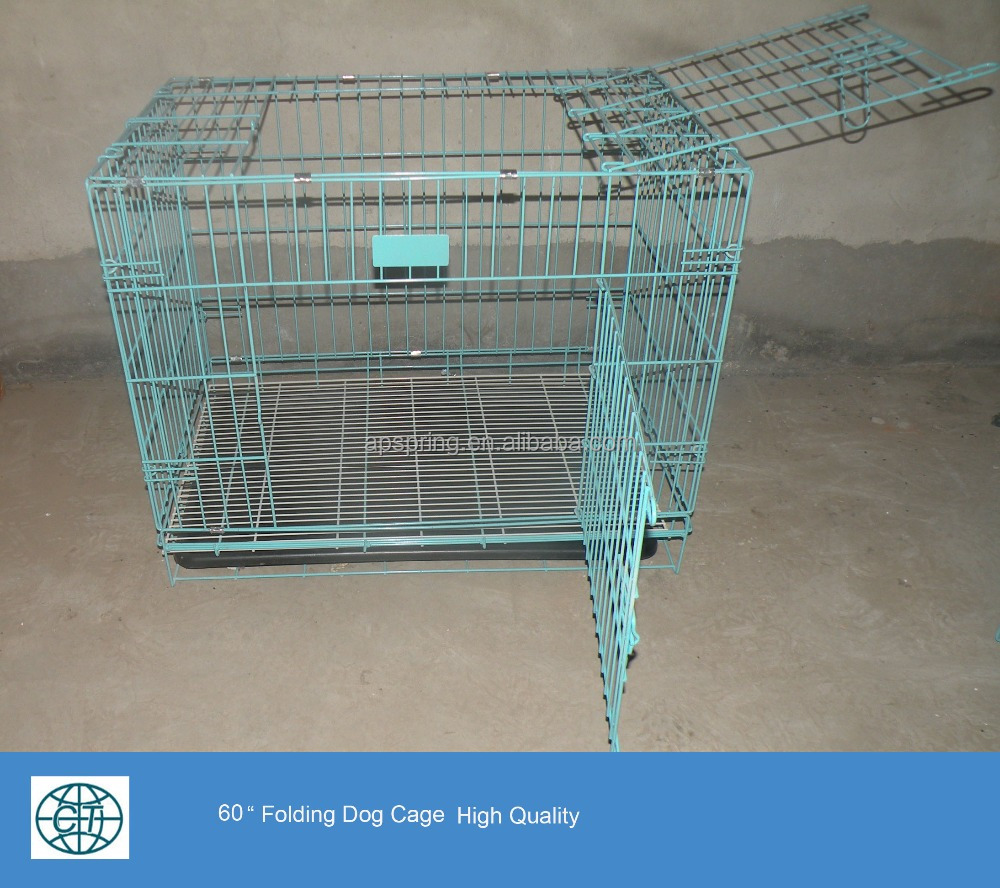 pvc coated metal wire welded folding dog cage for animal carrier