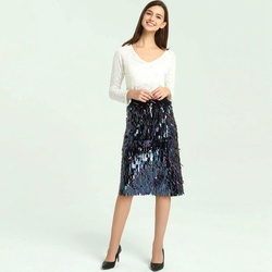Sequin Skirt Women 2018 Spring New Arrival Womens Pencil Skirt High Waist Bodycon Fashion Midi Ladies Sequin Skirts