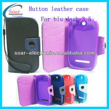 unique products made in china button leather case for blu dash 3.5