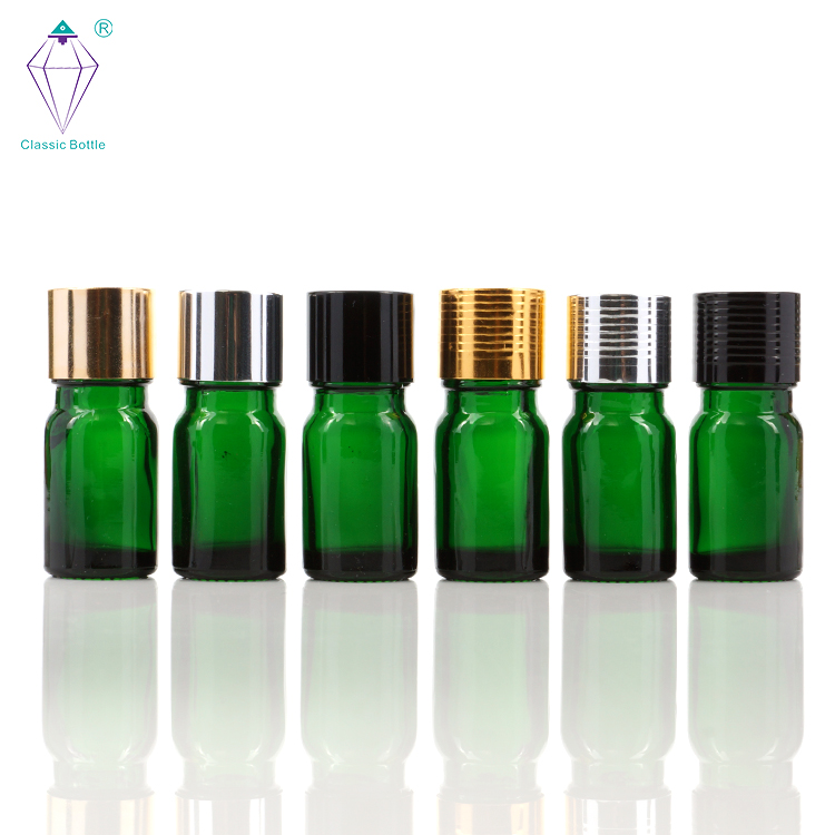 5ml empty green essential oil glass bottles with electrochemical aluminum covers