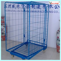 3 sides security metal wire mesh roll container/foldable roll cage