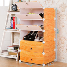 Easy to disassemble orange wood grain pp shoe storage