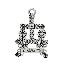 Connectors Findings Pendants Baron Samedi Voodoo Vodou Veve Lwa Antique Silver 3.3cm x 22.0mm