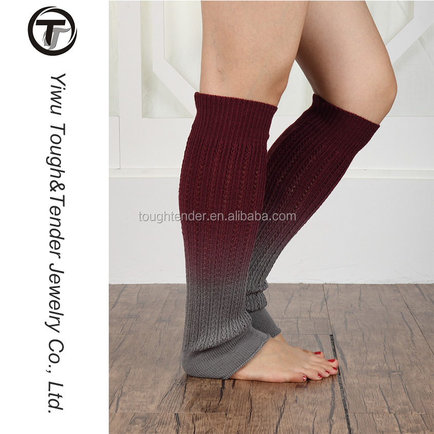 Premium Quality 95% acrylic+5%Spandex (Gradient Color) Knitted leg warmers
