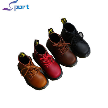 2017 Autumn Comfortable Shoes PU Lace-up Kids Boots
