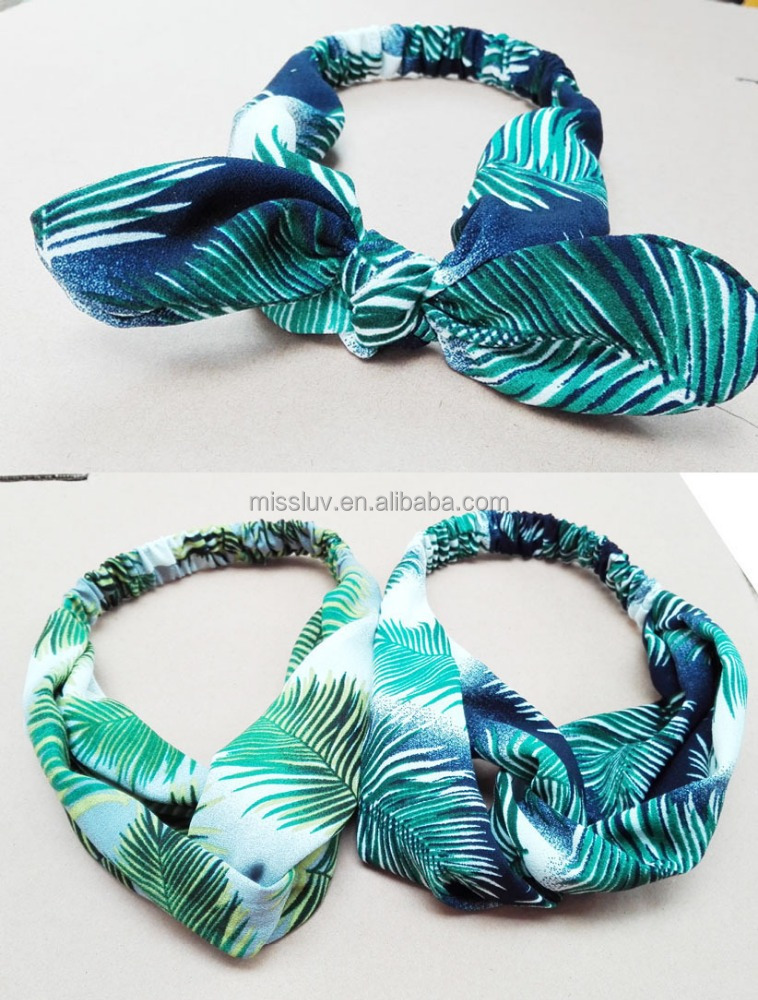 Beach Style Polyester Printed Hair Band Hair Accessories Fashion Bow Elastic Ribbon Headband For Women