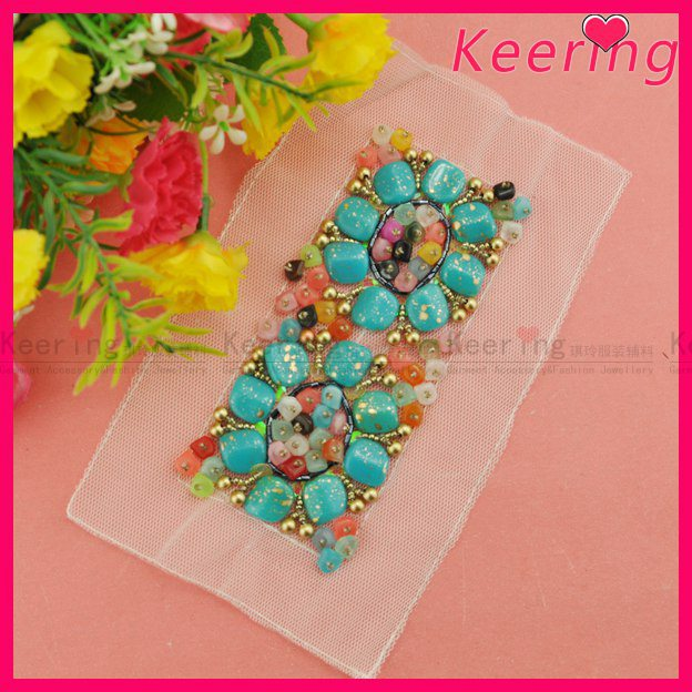 wholesale fashion keering handmade beaded applique patch for garment