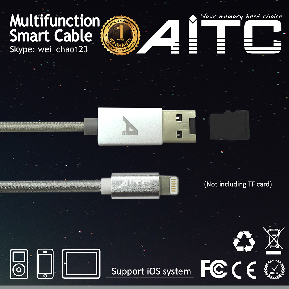 Best selling AITC Mutifunction 3 in 1 nylon braid 8 pin Charging Cable with TF Card Reader for iOS iphone