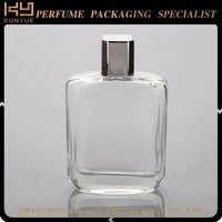 classic square glass perfume bottle 100ml with silver cap