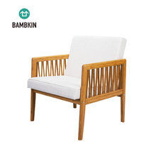 BAMBKIN Bamboo wooden living room <strong>furniture</strong> single seat sectional sofa chair with cushion