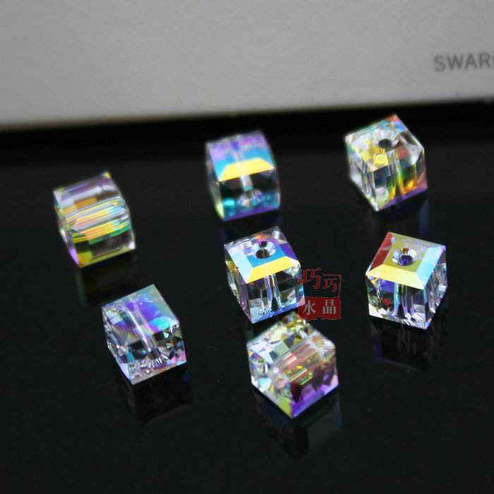 Austria 4mm/6mm cuboid shape glass quartet beads by machine for jewelry accessories(5601)