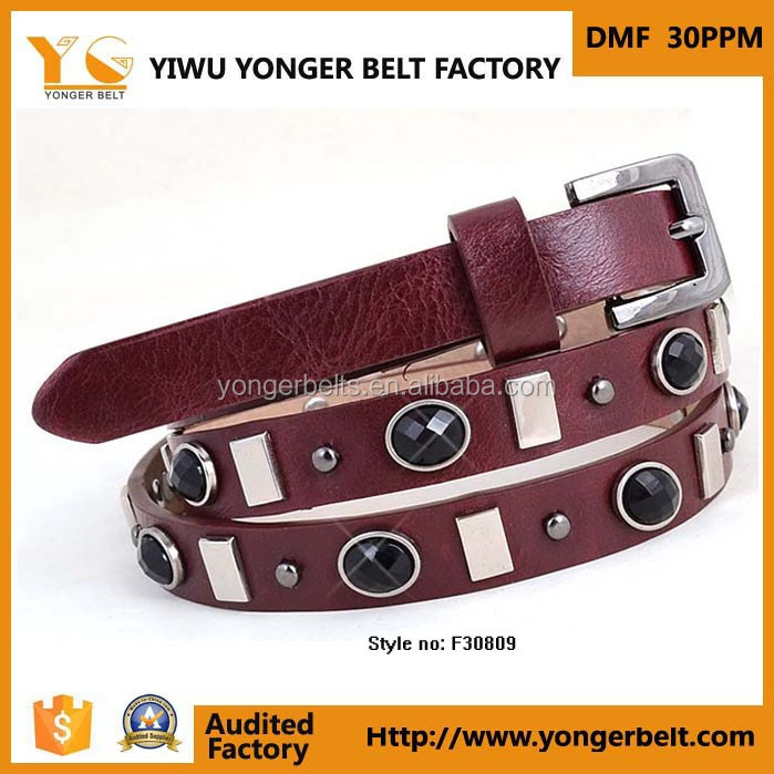 Fashion new style elegant leather wholesale rhinestone belts western
