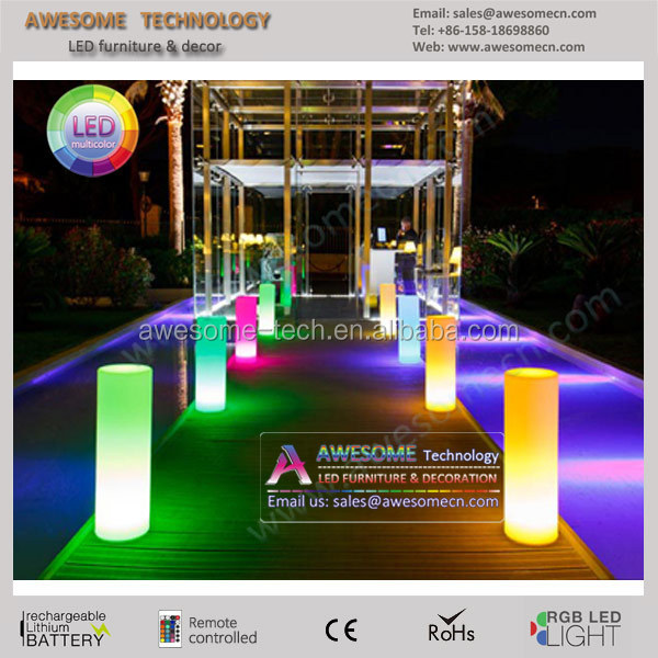 Fashionable Plastic PE RGB Color Changing Led Pillar/Led Pillar Light/Wholesale Plastic Wedding Columns
